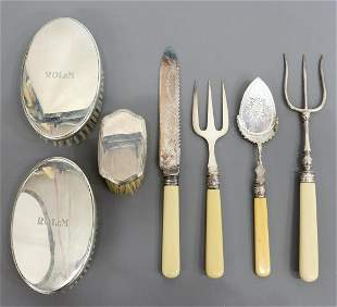 7) TIFFANY STERLING-HANDLED BRUSHES PLATE FLATWARE