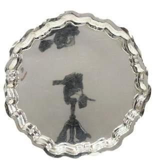 """WHITING CHIPPENDALE STERLING SILVER 14"""" ROUND TRAY"""