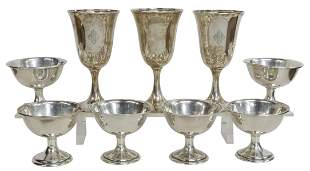 (9) AMERICAN STERLING WATER GOBLETS & SHERBET CUPS