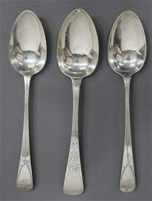 (3) ENGLISH STERLING SILVER BRIGHT-CUT TABLESPOONS