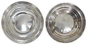 (2) AMERICAN STERLING VEGETABLE BOWL & ROUND TRAY
