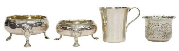 (4) GEORGIAN STERLING SALT CELLARS, TIFFANY CUP