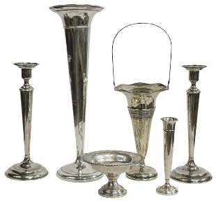 (6) WEIGHTED STERLING CANDLESTICKS & TRUMPET VASES