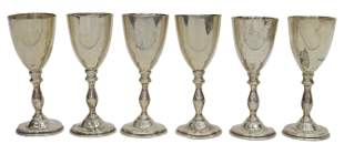 (6) TANGO ACEVES MEXICO STERLING CORDIAL GOBLETS