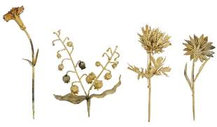 (4) JANNA THOMAS MEXICO VERMEIL FLOWER BROOCHES