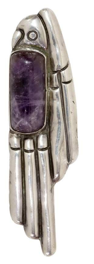 WILLIAM SPRATLING (1900-1967) AMETHYST PARROT PIN