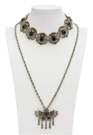 (2) MATILDE POULAT STYLE STERLING NECKLACES MEXICO
