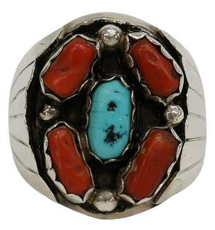 GENT'S NAVAJO SILVER, RED CORAL & TURQUOISE RING