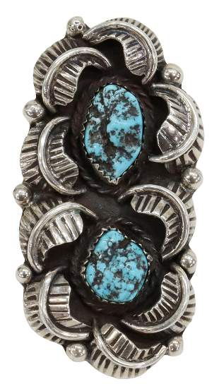 SOUTHWEST SILVER & TURQUOISE RING, SIGNED
