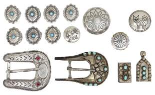 (15) SOUTHWEST SILVER BELT BUCKLES & BUTTON COVERS