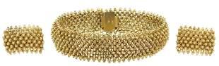 (SET) ESTATE 14KT GOLD BRACELET & EARRINGS, INDIA