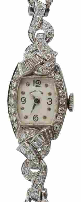 ART DECO HAMILTON PLATINUM 2.32CTTW DIAMOND WATCH
