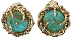 (PR) ESTATE 14KT YELLOW GOLD & TURQUOISE EARRINGS