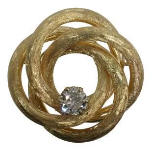 ESTATE 14KT TEXTURED GOLD & .70 CT DIAMOND BROOCH