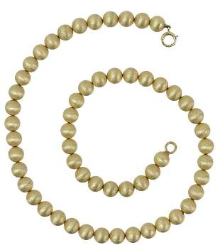 ESTATE 14KT YELLOW GOLD TEXTURED BEAD NECKLACE