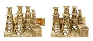 (PAIR) GENT'S 14KT YELLOW GOLD OIL RIGS CUFFLINKS