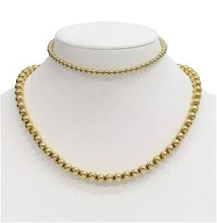 (2) ESTATE 14KT GOLD BEADED NECKLACE & ANKLET