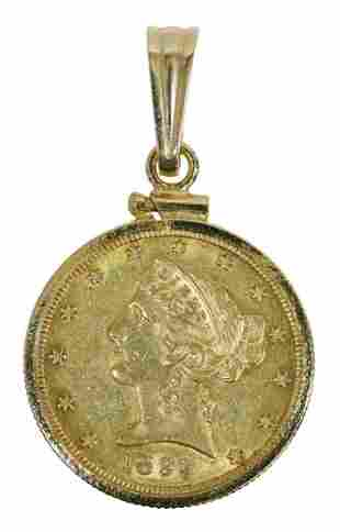 1899 LIBERTY HEAD HALF EAGLE $5 GOLD COIN PENDANT