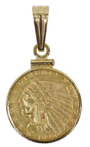 1928 INDIAN HEAD $2.50 GOLD COIN PENDANT