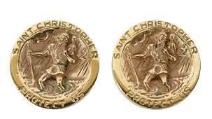 (PR) 14KT GOLD ST CHRISTOPHER EARRINGS, 24.4 GRAMS