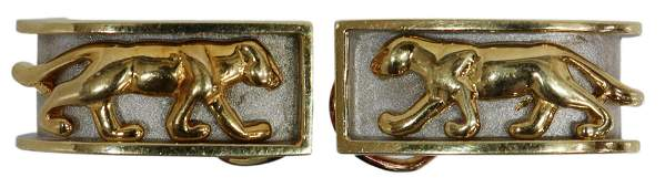 (PAIR) TWO-TONE 14KT GOLD PANTHER HUGGIE EARRINGS
