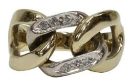 ESTATE 14KT GOLD & DIAMOND CURB LINK DESIGN RING
