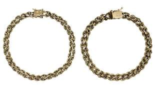 (2) ESTATE 14KT YELLOW GOLD WOVEN ROPE BRACELETS