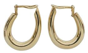 (PR) ESTATE 14KT GOLD HOLLOW HOOP CLIP-ON EARRINGS