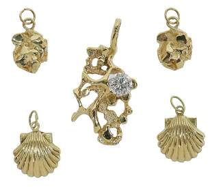 (5) ESTATE 14KT YELLOW GOLD CHARMS, NUGGET, SHELL