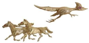 (2) ESTATE 14KT YG HORSE & ROADRUNNER BROOCHES
