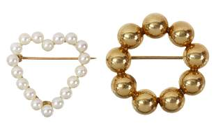 (2) ESTATE 14KT GOLD NECKLACE & BROOCHES
