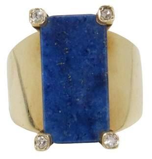 ESTATE 18KT GOLD LAPIS LAZULI & DIAMOND RING