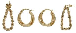 2PR) ESTATE 14KT YELLOW GOLD EARRINGS, ROPE & HOOP