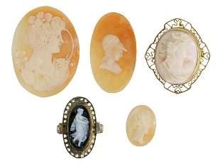 (5) UNMOUNTED SHELL CAMEOS & CAMEO JEWELRY