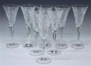 (8) WATERFORD MILLENNIUM SERIES CRYSTAL CHAMPAGNES
