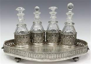 ODIOT PARIS SILVERPLATE FITTED DRINKS SERVICE TRAY