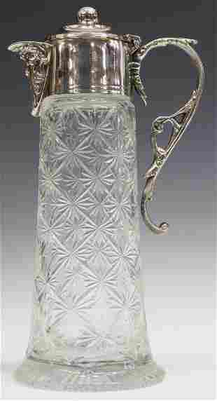 VICTORIAN SILVERPLATE-MOUNTED CUT GLASS CLARET JUG