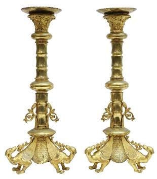 (2) CONTINENTAL GILT BRONZE ALTAR CANDLE PRICKETS