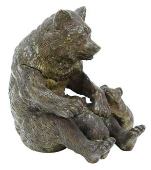 VIENNA BRONZE INKWELL MOTHER BEAR & CUBS