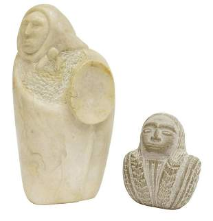(2) NATIVE AMERICAN CARVED STONE SCULPTURES