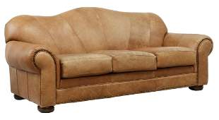 SOUTHWEST STYLE BROWN LEATHER CAMELBACK SOFA