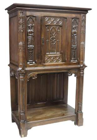 FRENCH GOTHIC REVIVAL CARVED OAK CREDENCE CUPBOARD
