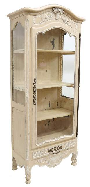 FRENCH PROVINCIAL CARVED & PAINTED VITRINE
