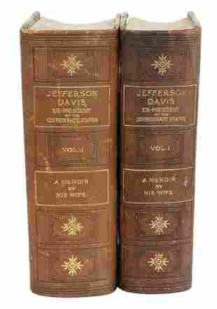 (2 VOL) JEFFERSON DAVIS MEMOIR, 1890 FIRST EDITION