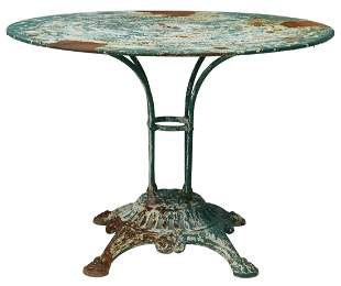 GREEN PAINTED CAST IRON PATIO GARDEN TABLE