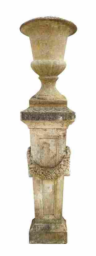 (LOT) CAST STONE GARDEN CAMPANA URN & COLUMN STAND