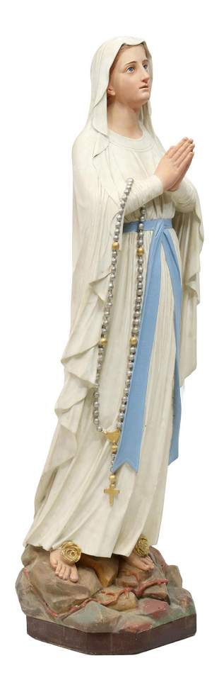 """FRENCH PAINTED PLASTER OUR LADY OF LOURDES, 53""""H"""