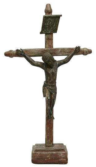 """LARGE RELIGIOUS CARVED CRUCIFIX, MEXICO, 55""""H"""