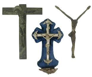 (3) BRONZE CRUCIFIX & SILVER PLATE HOLY WATER FONT