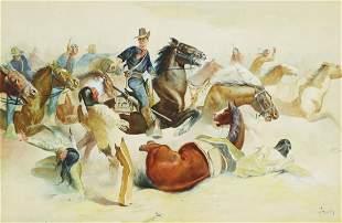 WILLIAM STANDISH (19TH C.) GENERAL CUSTER W/C